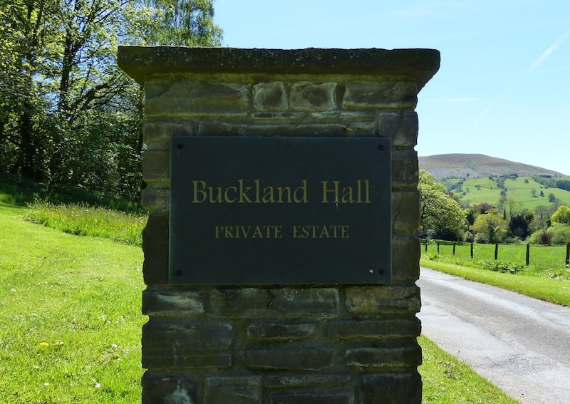 Estate entrance sign at Buckland Hall