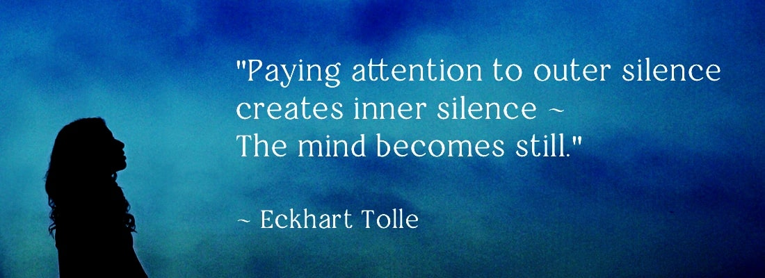 One day retreat banner image with quote on silence by eckhart tolle