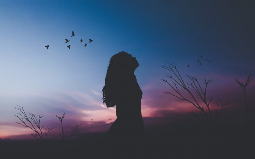 Silhouette of woman looking silently at sunset sky
